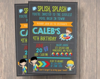 Pool Bash Birthday Party Bash Invitation, Boy Pool Party Invitation, Boy Birthday Party Invite, pool party invite