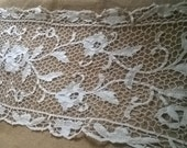 Long Art Lace Runner French Antique 1930's Off White Cotton Handmade Lace Floral Runner