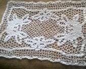 Art Filet Lace Doily French Antique White Cotton Handmade Lace Doily