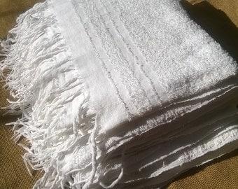 Antique White Bath Towel French 1930's Cotton Sponge Towel Both Sides Fringed