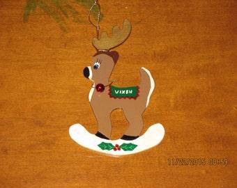 Vixen Reindeer Christmas Ornament Santa's Sleigh 1970's