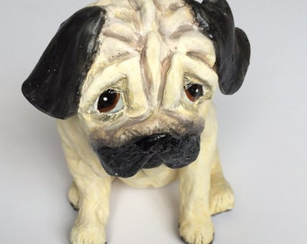 Handmade Ceramic Pug Sculpture - 20 cm Tall