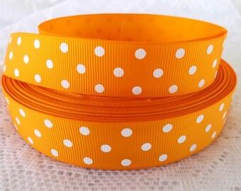 Orange Polka dot ribbon 7/8 tangerine polka dots ribbon