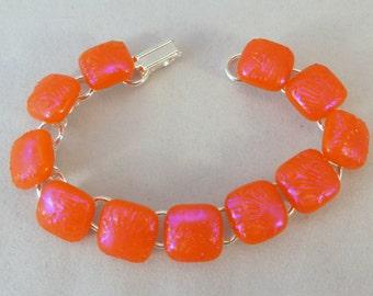 7 Inch Orange Dichroic Fused Glass Bracelet, Fused Glass, Fused Glass Bracelet, Glass Bracelet, Dichroic Bracelet, Dichroic, Orange Bracelet