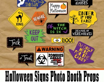 Halloween Signs Photo Booth Props and Decorations - Printable Party Decorations - 30 Decorations - Digital Download- INSTaNT DOWNLoAD