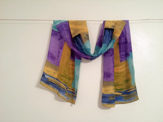 adrienne vittadini silk scarf golden yellow by