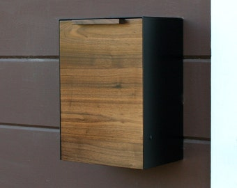 Modern Mailbox, Walnut Wall Mounted mailbox, Narrow size