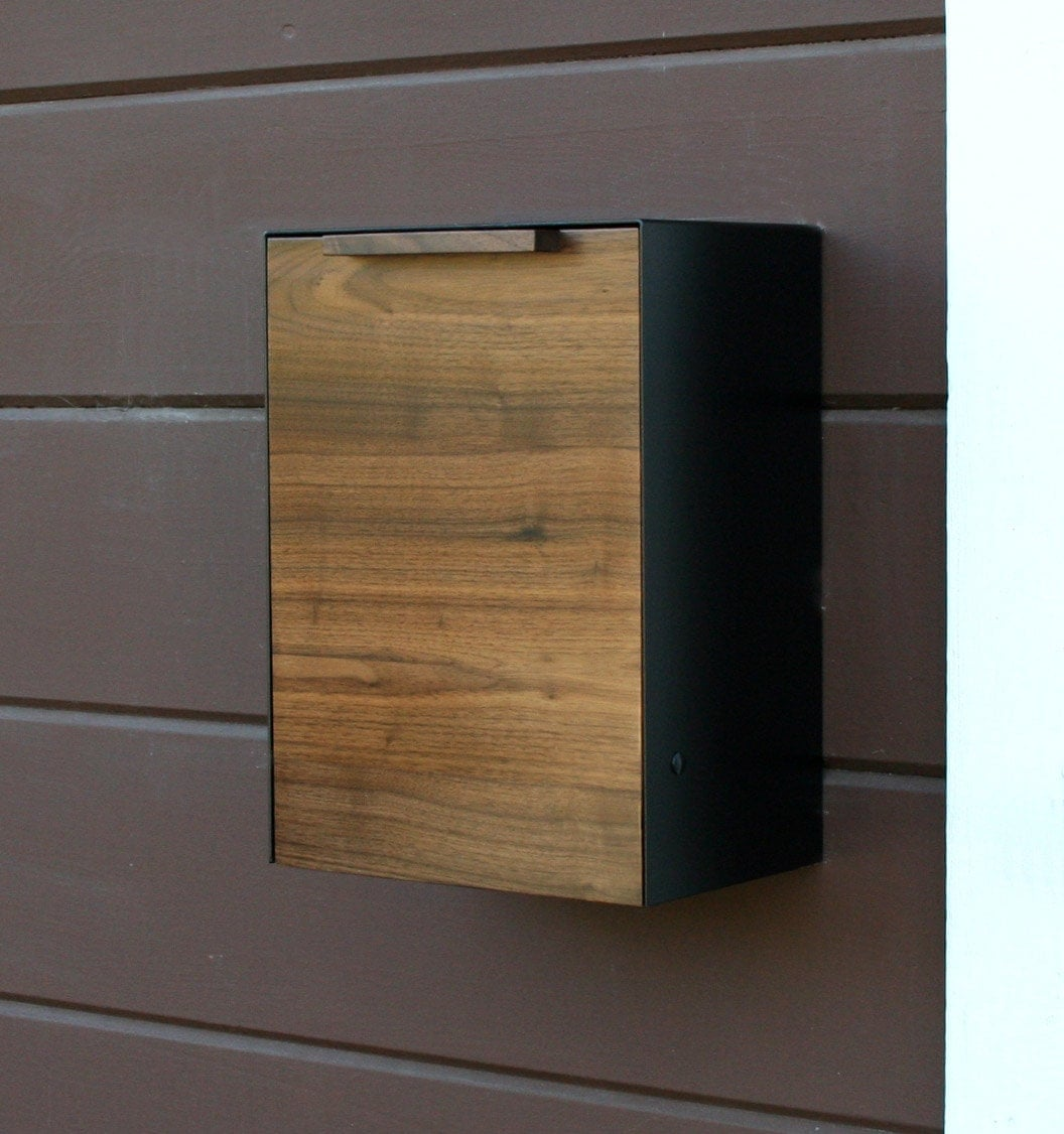 modern mailbox walnut wall mounted mailbox narrow size. Black Bedroom Furniture Sets. Home Design Ideas