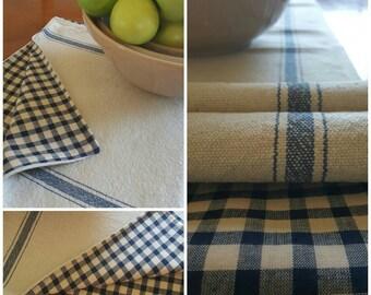 Grain Sack Table Runner Blue THREE Stripe Reversible - 56 inches