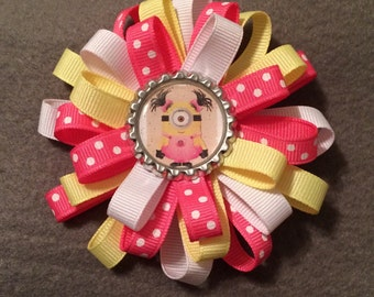 Minion Flower Stack Loop Bow