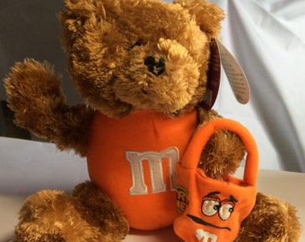 Teddy Bear Trick or Treat Orange M & M Trick or Treat bag with eyes that light up Never used Little Bear Halloween Bear