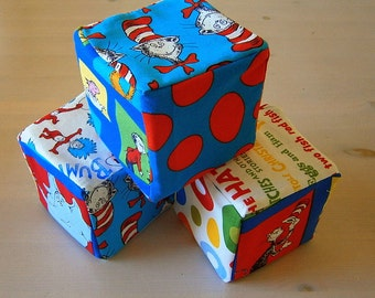 Cotton Soft Plush Blocks Set Handmade Baby Toy - Dr Seuss - The Cat in the Hat