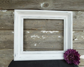Large Hand Painted 16 x 19 Open Wood Frame with 11 x 14 opening ~ Distressed Pure White ~ Rustic Shabby Chic Farmhouse Home Decor ~ Family
