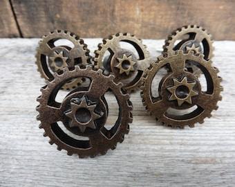 Attractive Gear Plate Knob   Industrial Steampunk Art Cabinet Drawer Pull   Metal Knob  Man Cave Mechanic