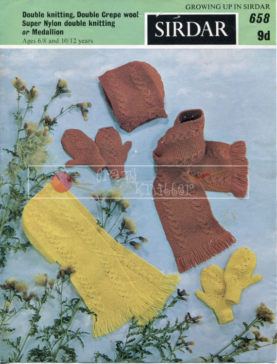 Childrens Scarf Hood Mittens 3-12 years DK Sirdar 658 Vintage Knitting Pattern PDF instant download