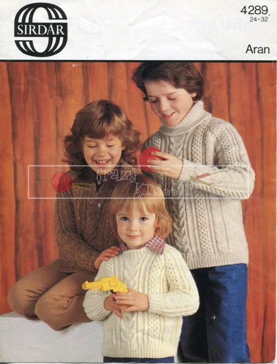 """Children's Cable Sweaters 24-32"""" Aran Sirdar 4289 Vintage Knitting Pattern PDF instant download"""