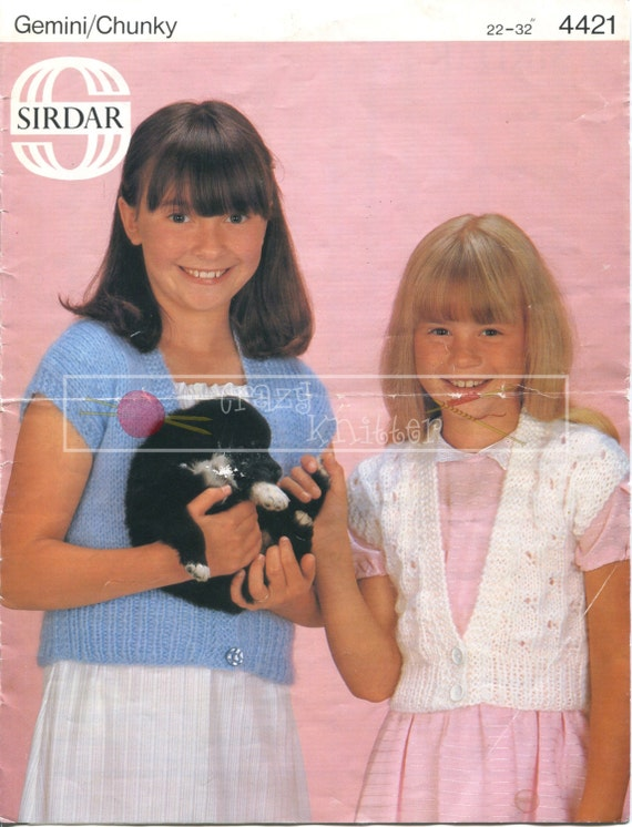 """Girl's Waistcoats 22-32"""" Chunky Sirdar 4421 Knitting Pattern PDF instant download"""