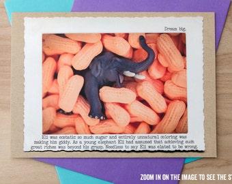 Elephant Greeting Card • Funny Elephant Card • Photo Card •Inspirational Art • Handmade Elephant Greeting • Animal Tales Card Collection