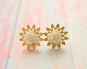 Plugs Size 4g 2g 0g 00g 1/2 White Rose Gauges Gold Snowflake Filigree Size 4 2 0 00 Wedding Bridal Prom Wear