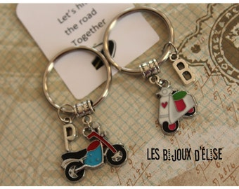 Set of 2 Hit the Road Together Keychains His and Hers Couple Keychains Motocycle and Scooter Personalized Key Chains Best Friends Keychain