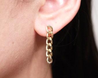Gold Chain Post Earrings