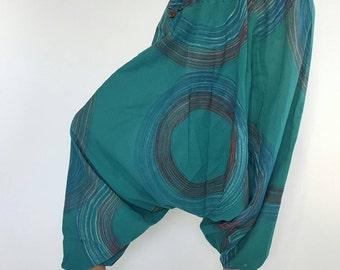 HC0075 Cotton Harem Pants, Unisex Low Crotch, Yoga Trousers