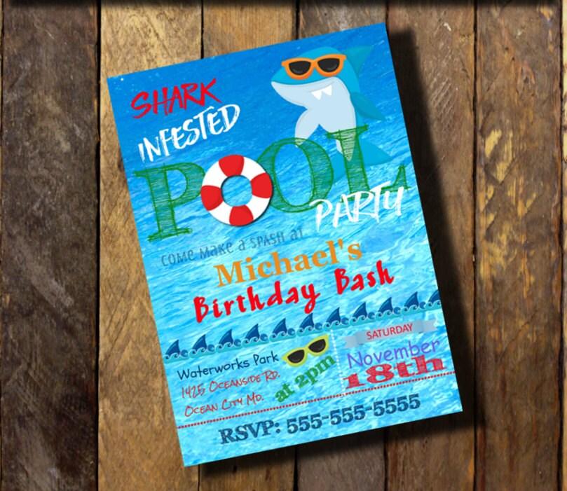 Shark Invitation PrintableShark Birthday InvitationPool Party
