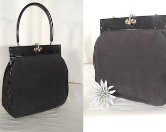 Vintage 1930s Handbag - 1940s Purse / Black Doctors Bag with Lucite Handle