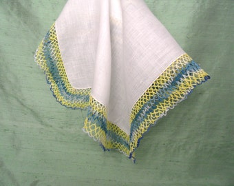 Yellow blue and white crocheted edge vintage handkerchief / white linen hankie