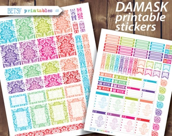 Printable planner stickers Erin Condren Printable Stickers, damask, Monthly sticker set, damask stickers -  455
