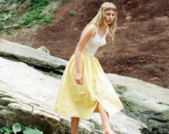 1990s Crisp Yellow Calvin Klein Skirt
