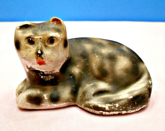 Old Chalkware Kitty Cat Figurine, Small Collectible Cat figure, Early to Mid 1900's, Black and White Feline, Carnival Chalkware Treasure