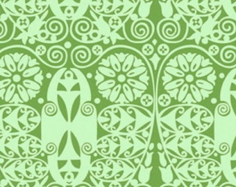 CLEARANCE Temple Doors in Basil Fabric Amy Butler Soul Blossoms Quilters Cotton Green Mint Half Yard