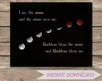 Moon Goddess Poem Photographic Art Wall Print - Pagan Poster - INSTANT DIGITAL DOWNLOAD - 11x14 inches