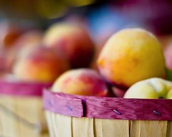 Kitchen photography, food photography, kitchen art, peaches print, peaches decor, rustic photography, farmhouse decor, rustic kitchen, peach