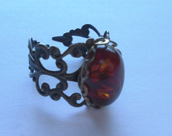 Antique brass filigree ADJUSTABLE ring with AMBER cabochon