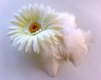 White Gerbera Daisy and Feather hair clip