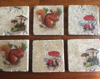 Christmas Gift, Handmade Natural Stone Decoupaged Coasters, Cottage Chic, Country Chic, Vintage Chic, Home Decor, Autumn Decor, Fall Decor