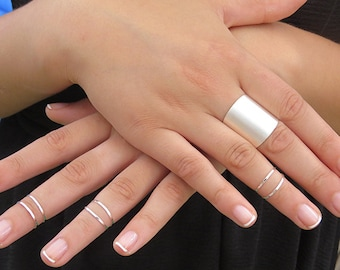 Sale - Silver ring, Set of 6 silver stacking rings with 1 tube ring, Knuckle Ring, 6 midi silver rings, Silver tube ring, Ring gift