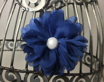 Blue hair flower, blue flower hair clip, girls flower hair accessory, bright blue hair flower, girls hair clip hair accessory