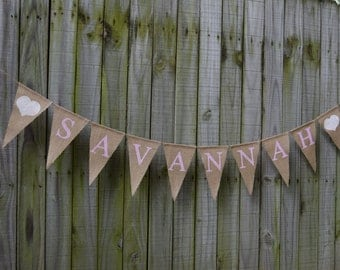 Baby Shower Burlap Banner - Baby Shower - Custom Names Banner Shower decor  Baby birth - Baby Announcement
