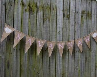 Baby Shower Burlap Banner - Baby Shower - Custom Names Banner Shower decor  Baby birth - Baby Announcement