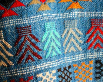 Vintage Tunisian Wall Hanging Saddle Blanket Rug Blue Cotton
