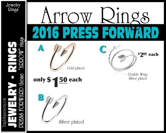 "Arrow Rings Pack of 10 rings  only 1.50 each ""Press Forward with a Steadfastness"" 2016 theme silver and gold  YW charms"