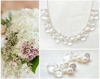 Crystal Quartz Bridal Jewelry SET, Bridal Jewellery SET, Wedding Jewelry SET, Bridal Necklace and Earrings Set