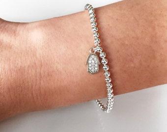 Gold Hamsa Bracelet,Beaded Gold bracelet,Rose Gold bracelet,Gold bracelet,Beaded Hamsa bracelet,Dainty Gold Hamsa bracelet,Gift for her,BBHG