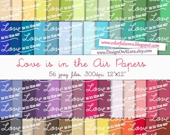 Love Digital Papers, Valentine Digital Papers, Love is in the Air typography pattern,Valentine Digital Paper,Typography Scrapbooking Paper