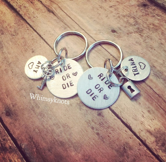 Ride or die friendship keychains. round disc friendsip key rings-with additonal name tag