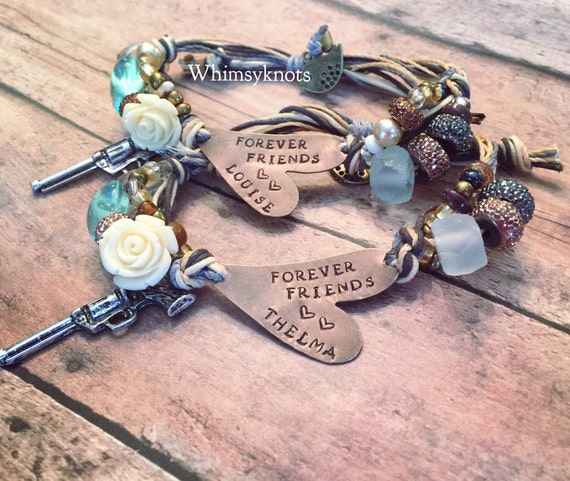 Forever Friends bracelets/ thelma and louise-Best friend gift set- heart stamped bracelet.
