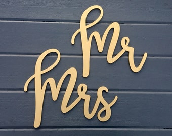 Mr and Mrs Chair Signs, Laser Cut Wedding Chair Backs Wood Decorations by Ngo Creations